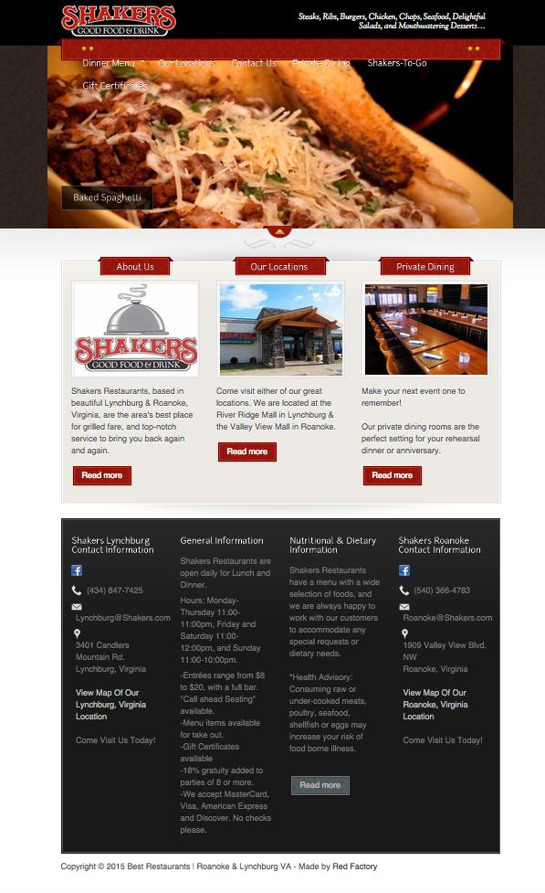 Shakers Restaurant | SEO | Charlottesville, Roanoke